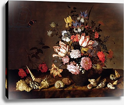 Постер Аст Балтазар Still life of a vase of flowers with shells