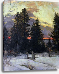 Постер Архипов Абрам Sunset over a Winter Landscape, c.1902