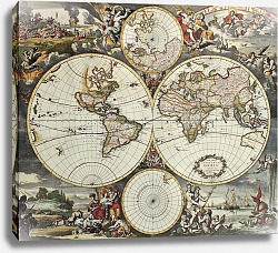 Постер Old map of world hemispheres. Created by Frederick De Wit, published in Amsterdam, 1668
