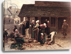 Постер Лермит Леон The Market Place of Ploudalmezeau, Brittany, 1877