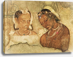 Постер Школа: Индийская A Princess and her Servant, copy of a fresco from the Ajanta Caves, India