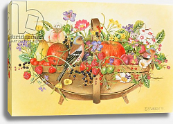 Постер Уоттс Э. (совр) Trug with Fruit, Flowers and Chaffinches, 1991