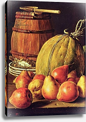Постер Мелендес Луис Still Life with pears, melon and barrel for marinading