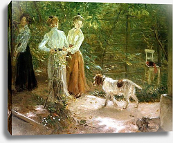 Постер Ухде Фритц View of the artist's garden with his daughters, 1903