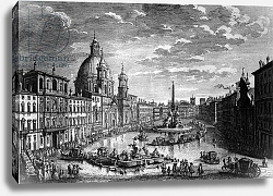 Постер Вази Джузеппе View of the Piazza Navona during the Ferragosto holiday, 1752