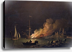 Постер Брукинг Чарльз Ship on Fire at Night, c.1756