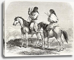 Постер Comanche indians horseback. Created by Duveaux. Published on Le Tour du Monde, Paris, 1860