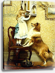 Постер Брабер Шарль Little Girl and her Sheltie, 1892