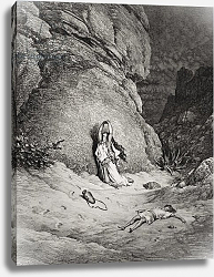 Постер Доре Гюстав Hagar and Ishmael in the Desert, illustration from Dore's 'The Holy Bible', engraved by Piaud, 1866