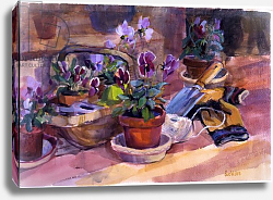 Постер Уэльс Сью (совр) Potting up the pansies, 1996,