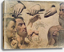 Постер Ингрес Джин Study of Heads and Hands for the Apotheosis of Homer