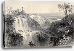 Постер Tivoli waterfalls, near Rome, Italy. Original, created by W. H. Bartlett and E. Brandard, published