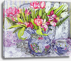 Постер Фивси Джоан (совр) Pink and White Tulips, Orchids and Blue Antique China