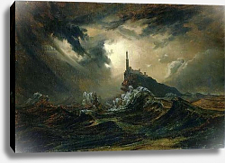 Постер Блехен Карл Stormy sea with Lighthouse