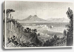 Постер Naples with Vesuvius volcano, Italy, Created by Bartlett and Lacey, published on Il Mediterraneo Ill