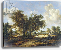 Постер Хоббема Мейндрат (Meindert Hobbema) Wooded Landscape with Cottages, 1665