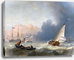 Постер Rough seas with a Dutch yacht under sail