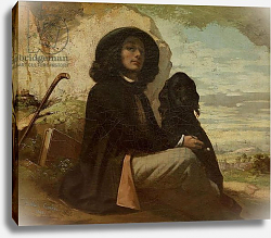Постер Курбе Гюстав (Gustave Courbet) Courbet with his Black Dog, 1842