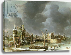 Постер Бирштатен Ян A View of the Regulierspoort, Amsterdam, in winter