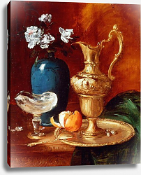 Постер Воллон Антуан Still life of a gilt ewer, vase of flowers and a facon de Venise bowl