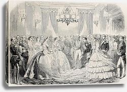 Постер French emperor  meeting Russian empress dowager in Lyon, France. From drawing of Janet-Lange, publis