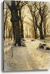 Постер Монстед Петер A Wooded Winter Landscape with Deer, 1912