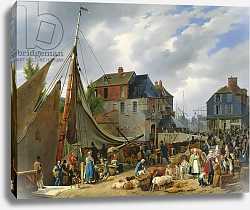Постер Лепринс Август Loading Livestock onto the 'Passager' in the Port of Honfleur, 1823