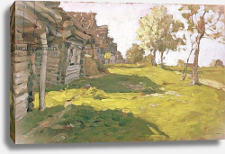 Постер Левитан Исаак Sunlit Day. A Small Village, 1898
