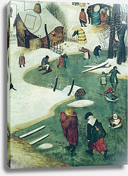 Постер Брейгель  (последователи) Children Playing on the Frozen River, detail from the Census of Bethlehem