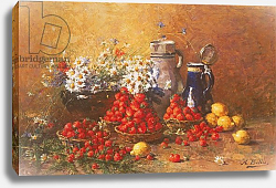 Постер Беллис Хьюберт Still life of flowers and fruit