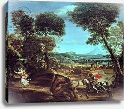 Постер Доменикино Landscape with St.George and the Dragon, c.1610