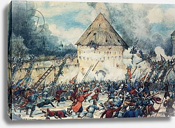Постер Лисснер Эрнст Battle with Polish Interventionists at the Vladimir Gate of Kitai-Gorod in Moscow, 1612, Watercolor by G, Lissner.