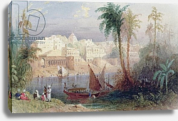 Постер Аллом Томас (грав) A View of an Indian city beside a river, with boats on the river and figures in the foreground