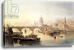 Постер Гудолл Эдвард St. Paul's Cathedral and London Bridge, 19th century
