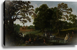 Постер Велде Эсиас Landscape with a courtly procession before Abtspoel Castle, 1619