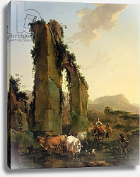 Постер Берхем Николас Peasants with Cattle by a Ruined Aqueduct, c.1655-60