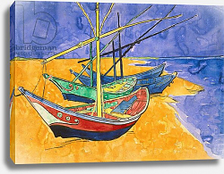 Постер Ван Гог Винсент (Vincent Van Gogh) Fishing Boats on the Beach at Saintes-Maries-de-la-Mer