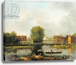 Постер Ричардс Джон A River Landscape, possibly a View from the West End of Rochester Bridge, 1800-10