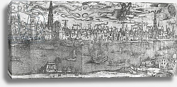 Постер Школа: Фламандская 16в. View of Antwerp Harbour, detail of the right hand section, 1515-50