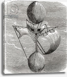 Постер Школа: Французская Lana's Flying Machine, from 'Wonderful Balloon Ascents or the Conquest of the Skies', in c.1870