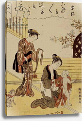 Постер Харунобу Сузуки P.312-1941 A mother dressing her young son in a kimono,
