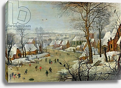 Постер Брейгель Питер Старший Winter Landscape with Skaters and a Bird Trap