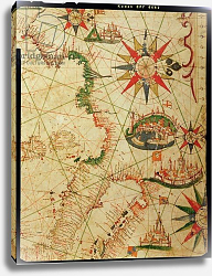 Постер Прунс Пьетро (карты) The south coast of France, Italy and Dalmatia, from a nautical atlas, 1651