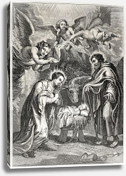Постер Holy Nativity. Engraved by Jourdain after painting of Rubens, published on L'Illustration Journal Un