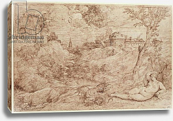 Постер Тициан (Tiziano Vecellio) Landscape with a Dragon and a Nude Woman Sleeping