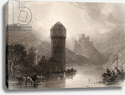 Постер Робертс Давид Tower of Niederlahnstein, engraved by E. Goodall, illustration from 'The Pilgrims of the Rhine' 1840