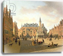 Постер Беркхейде Геррит The Market Place with the Raadhuis, Haarlem, 17th century
