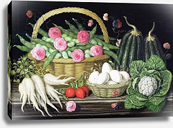 Постер Клейзер Амелия (совр) Eggs, broad beans and roses in basket, 1995