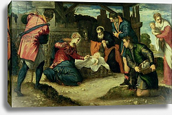 Постер Тинторетто Джакопо The Adoration of the Shepherds, 1540s