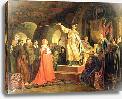 Постер Неврев Николай Prince Roman of Halych-Volhynia receiving the ambassadors of Pope Innocent III, 1875